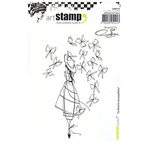Carabelle Studio Cling Stamp Art, Stempel Set, Diese Frau mit Schmetterlingen, für Papierbasteln, Stempelprojekte, Kartengestaltung und Scrapbooking