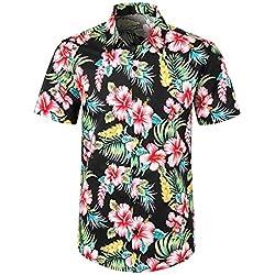 YEBIRAL Polos Manga Corta Hombre Manga Corta Básico Polo con Botones Camisa Hawaiana Hombre Camiseta Fruta Floral Estampado Formales Tops (XL
