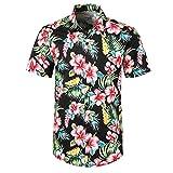 serliy Sommer Herren Fancy Print Hawaiihemd/Shorts Casual Kurzarm T-Shirts mit Strandhose Badehose Outfits Holiday Wear Butto