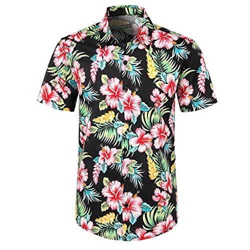 Hemden Bluse Tunika für Herren, Sumeiwilly Mode Persönlichkeit Männer Sommer Slim Kurzarm Bedrucktes Hemd Top Bluse Tee Lässiges Bedrucktes Button Down Kurzarm Shirt Hawaii Top Bluse