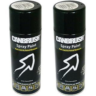 2 x CANBRUSH Spray Paint - For Metal Plastic & Wood 400ML Matt Finish- Flat Black