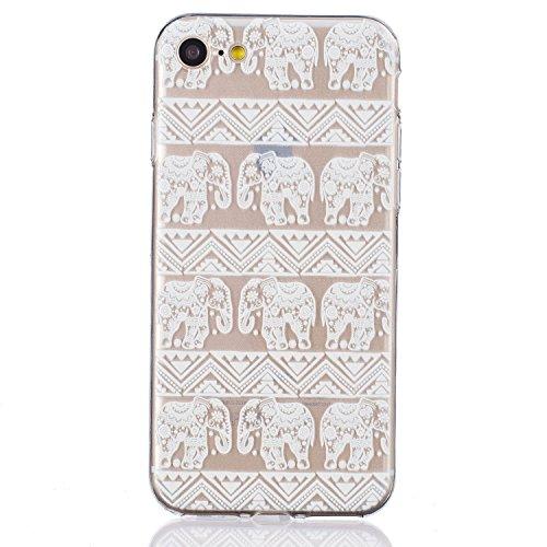 Felfy Coque pour iPhone 7,iPhone 7 Case Ultra Mince Slim Silicone Transparent Souple Motif Coque Slim Soft Etui Housse Case Gel Protective Cover Totems Elephant Campanula plume Motif de Fleurs Design  Motif 27