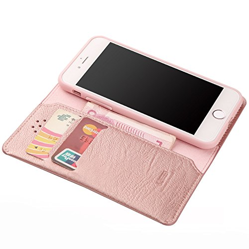 iPhone 6 Plus/6s Plus hülle, XUNDD 5.5 zoll Flip Book Case Cover erstklassige Leder Tasche hülle im Bookstyle mit Kartenfächer und Bargeld für iPhone 6 Plus/6s Plus[Nicht magnetisch],Rose Gold rosegold