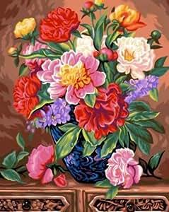 creative peinture au num ro motif bouquet de pivoines 40 x 50 cm couleurs assorties. Black Bedroom Furniture Sets. Home Design Ideas