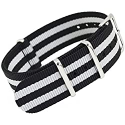 MetaStrap 22mm Nylon Strap Nato Watch Band with White&Black Striped Style