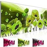 Bild 100 x 40 cm - Mohnblumen Bilder- Vlies Leinwand - Deko für Wohnzimmer -Wandbild - XXL Teile - leichtes Aufhängen- 801212b