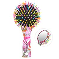 Luxspire Rainbow Hair Brush, Colorful Anti-Static Stylish Hanging Soft Curve Round Ball Tipped Air Volume Paddle Detangling Comb with Mirror for All Hair Types - Geometric Pattern