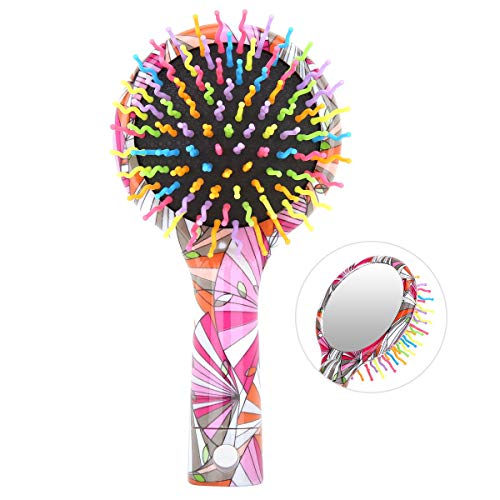 Luxspire Rainbow Hair Brush, Colorful Anti-Static Stylish Hanging Soft Curve Round Ball Tipped Air Volume Paddle Detangling Comb with Mirror for All Hair Types - Geometric Pattern -