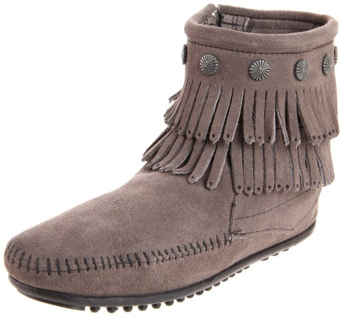Minnetonka Damen Double Fringe Side Zip Boot Mokassin Stiefel, Grau (Grey 1T), 39 EU Hi Side Zip