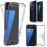ebestStar - Coque Samsung Galaxy S7 SM-G930F, G930 [Dimensions PRECISES de votre appareil : 142.4 x 69.6 x 7.9 mm, écran 5.1''] - Coque Intégrale Avant et Arrière Etui Housse Silicone Gel + Film Protection écran en Verre Trempé, Couleur Transparent [Note Importante Lire Description]