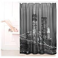 Relaxdays Duschvorhang mit New York Motiv, Antischimmel, waschbar, Duschringe, Badewannenvorhang 180x180cm, schwarz-weiß