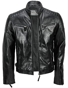 Chaqueta de piel suave para hombre, corte ajustado, chaqueta estilo biker con cremallera, retro, color marrón...