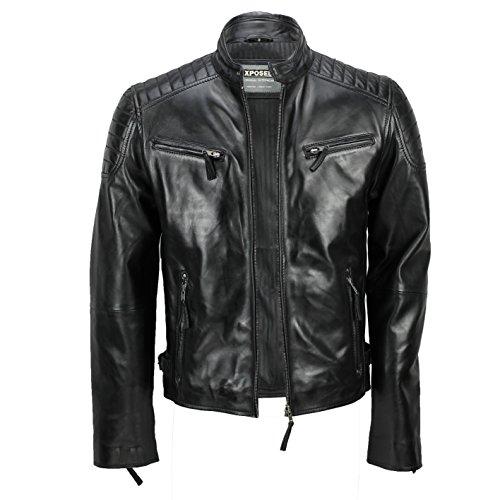 Chaqueta de piel suave para hombre, corte ajustado, chaqueta estilo biker con cremallera, retro, color marrón lavado Negro negro XXX-Large