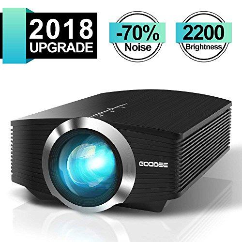 Video Projector, GooDee 2200 lm Luminous Flux LED Source Video Projector Supported 1080P Mini Projector Compatible with Fire TV Stick, HDMI, VGA, USB for Home Cinema Theater Movie Projector Test