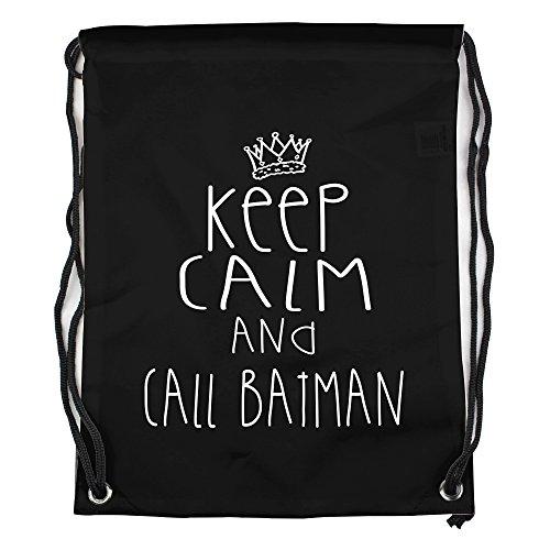 keep calm and call batman Motiv auf Gymbag, Turnbeutel, Sportbeutel, stylisches Modeaccessoire, Tasche, Unisex Rucksack, viele Sprüche und (Batman Outfit Echte)