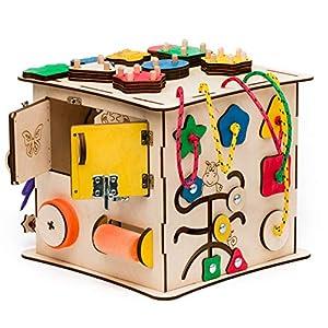 Aktivitätswürfel Holz 12 in 1 Motorikwürfel Montessori Aktivitätsbrett Entwickelndes Spielzeug Beschäftigtes Brett Busyboard für Kinder