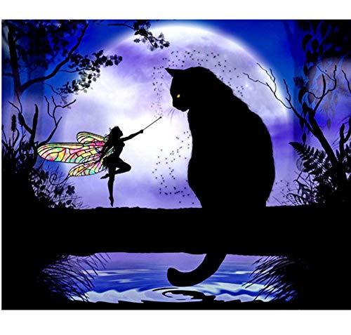 CYKEJISD Puzzle Adulte 1000 Pièces DIY Cat Black Cat & Butterfly Fairy Stick Draw Puzzle Classique 3D Puzzle Jouet en Bois Cadeau Unique Décoration Intérieure