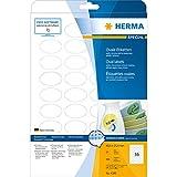 Herma 4380 Movables Etiketten ablösbar, wieder haftend (oval, 40,6 x 25,4 mm auf DIN A4 Papier matt, weiß) 900 Stück auf 25 Blatt, bedruckbar