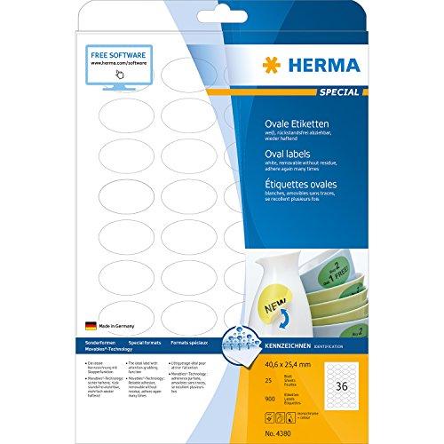 Preisvergleich Produktbild Herma 4380 Universal-Etiketten ablösbar, wieder haftend (oval, 40,6 x 25,4 mm auf DIN A4 Papier, matt, Movables) 900 Stück auf 25 Blatt, weiß, bedruckbar