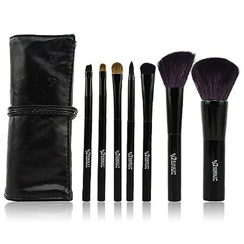 Emily Original - Naturel Pinceaux Cosmetique Kit 7 pcs Brosses de Maquillage Trousse Poils de Martre Make Up Brushes