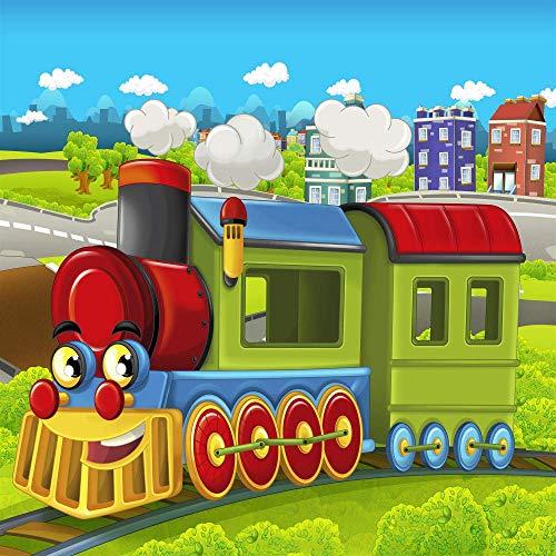 BuEnn 5x5FT Strom Zug Party Cartoon Stadt Eisenbahn Zug Baby Duschen Geburtstagsfeier Dekoration Kulissen für Fotografie