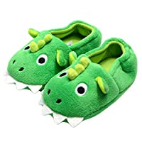 Fairytale-dream Shoes Kids Boy Girls Cartoon Animal Plush Soft Monster Bootie Slippers with Anti Slip Sole Warm Winter House Shoes for Indoor/Outdoor, Dinosaur Green, 7 UK Child