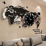 WTL wall clock Orologio da parete creativo Personality Fashion Wall Chart Orologio atmosferico World Map Clock L74CM * H34CM ( Colore : A , dimensioni : S. )