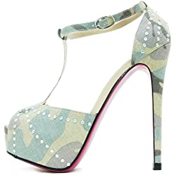 ROSELIGHT Peep Toes in Tarnfarbe mit Perlmutt Strass und Rosa Rote Sohle (38)
