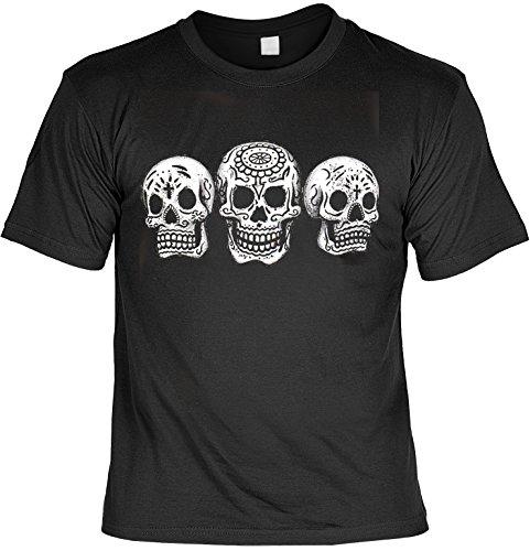 3 Skulls - Day of The Dead Tag der Toten Herren T-Shirt Totenkopf Dia de los Muertos Blumen Sugar Skull Tattoo Gr. L : (Der Der Traditionelle Tag Toten-outfits)