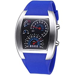 TVG Tonneau Dial LED Display Time & Date & Week & Colorful Light Timing Digital Movement Unisex Armbanduhr mit Rubber Band (Blue)