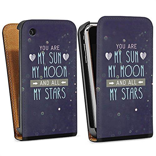 Apple iPhone 4 Housse Étui Silicone Coque Protection Soleil lune et étoiles Phrases C½ur Sac Downflip noir