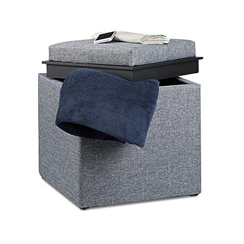 Relaxdays Storage Ottoman, HxWxD: 42 x 40.5 x 40.5 cm, Storage Box, Footrest w/ Tray, Footstool Pouffe, Fabric Look, Dark