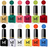 Mi Fashion Non-Toxic Premium Lacquer Extra Shine Nail Polish, Nude, Sea Green, Doll Pink, Passion Pink, Lime Green, Red, Black, Top Coat, White, Yellow, Coral and Sea Blue, 60ml (12 Pieces)