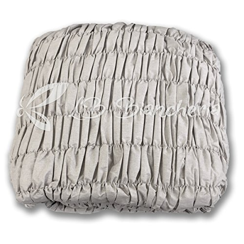 Copridivano universale arricciato - 5 posti - divano angolare - tinta unita melange grigio