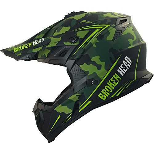 Broken Head Squadron Rebelution | Motorrad-Helm Für MX, Motocross, Sumo | Der Szene Marken-Helm | Camouflage | Größe M