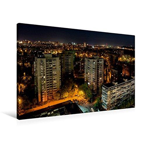 Preisvergleich Produktbild Premium Textil-Leinwand 90 cm x 60 cm quer, Kiew bei Nacht | Wandbild, Bild auf Keilrahmen, Fertigbild auf echter Leinwand, Leinwanddruck (CALVENDO Orte)