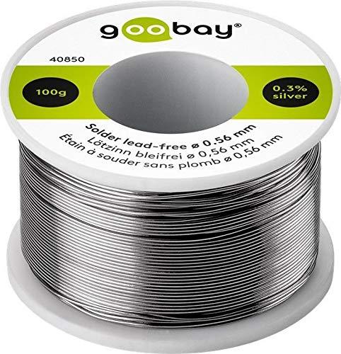 Goobay 40850 – Hilo de estaño sin plomo (0, 56 mm de diámetro, 100 g, estaño de soldadura ecológico con un porcentaje de plata (Ag) de 0, 3%