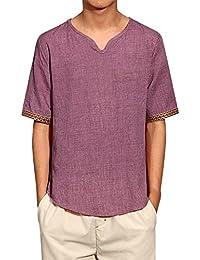 Camisetas Hombre,Blusas Mujer,??Camisas de Lino Tradicionales para Hombres, Camiseta Blusa Suelta de Manga Corta con…