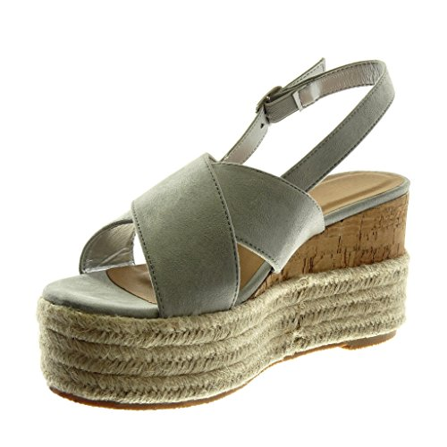 Angkorly Scarpe Moda Sandali Mules con Cinturino Alla Caviglia Zeppe Donna Corda Intrecciato Tanga Tacco Zeppa Piattaforma 9.5 cm Grigio chiaro