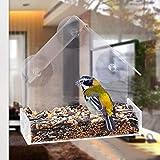 Mangeoire à fenêtre, SAWEY plateau d'alimentation coulissant, grand, transparent, résistant aux intempéries, résistant aux écureuils, évacue l'eau de pluie pour garder les graines des oiseaux au sec!