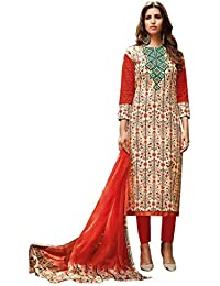 Beautiful Deep Orange lawn Cotton printed with green Embroidery salwar Suit Dress Material
