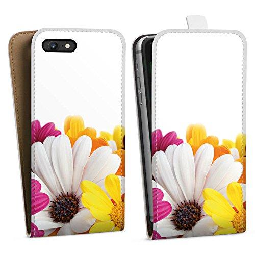 Apple iPhone X Silikon Hülle Case Schutzhülle Blumen Margerite Blüten Downflip Tasche weiß