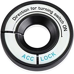 LITTOU Luminous Lgnition Key Ring Switch Cover Sticker For GOLF 4 GOLF 6 GOLF 7 MK7 MK6 MK5 POLO Passat B5 B6 B7 (Black)