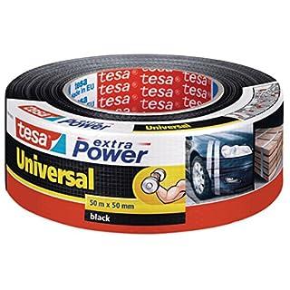 tesa Extra Power Universal Gewebeband / Witterungsbeständiges Panzertape in Schwarz zum Abdichten, Isolieren, Befestigen und Reparieren / 50m x 50 mm