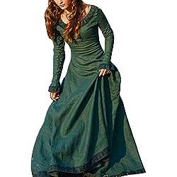 Disfraz De Medieval Para Mujer Vestido Gótico Vintage Vestido Medieval Traje De Cosplay Princesa Renacimiento Verde S