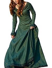 Frauen Vintage Mittelalter Kleid Cosplay Kostüm Langarm Kleid Prinzessin Gothic Kleid Übergröße Kleid