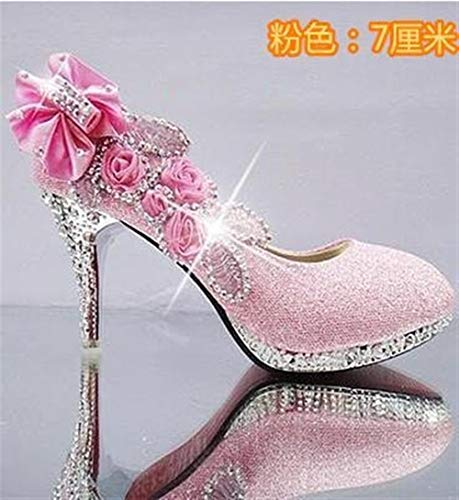 JingBiaoMaoYi Sexy Damen Pumps Glitter Hochzeitsschuhe Abend Party Kristall High Heels Schuhe (Color : Pink 7cm, Größe : 38) (Glitter-schuhe Wie)