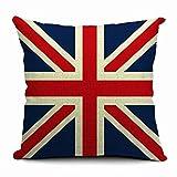 Espacio Editor (TM) Inglaterra Bandera de Vogue Cuadrado de impresión (17,7x 17,7pulgadas) Funda de cojín de lino y algodón cintura almohada funda de almohada Decoración del hogar