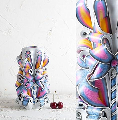Große, weiße, geschnitzte Regenbogen-Kerze - als Geschenk für Jahrestage, LGBT-Geschenke und Hochzeitsdekoration - EveCandles