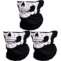 ‏‪Couples Seamless Skull Face Tube Mask Black (3pcs-white)‬‏